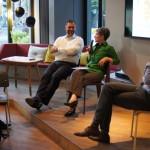 Podiumsdiskussion mit Moderator Jens Riepel, Carlos Frischmuth, Gerhild Vollherbst und Christian Lorenz, DGFP